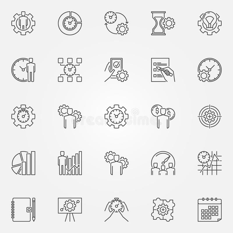 Productivity line icons set. Vector time management concept symbols in thin line style royalty free illustration