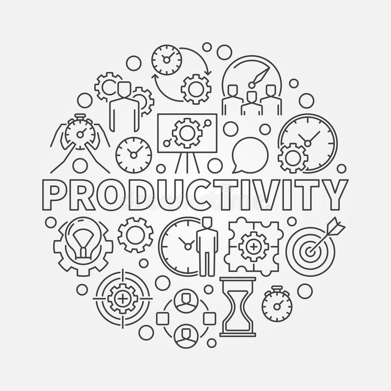 Productivity line round illustration stock illustration