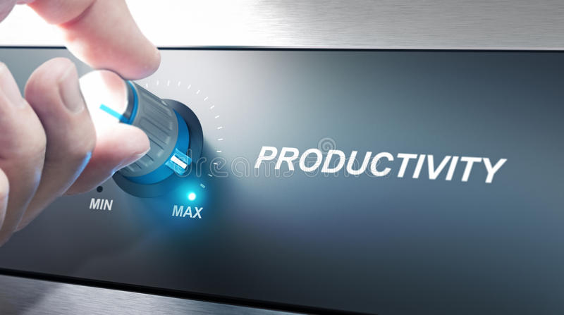 Productivity Management and Improvement. Hand turning a productivity knob. Concept for productivity management. Composite image between an photography and a 3D vector illustration