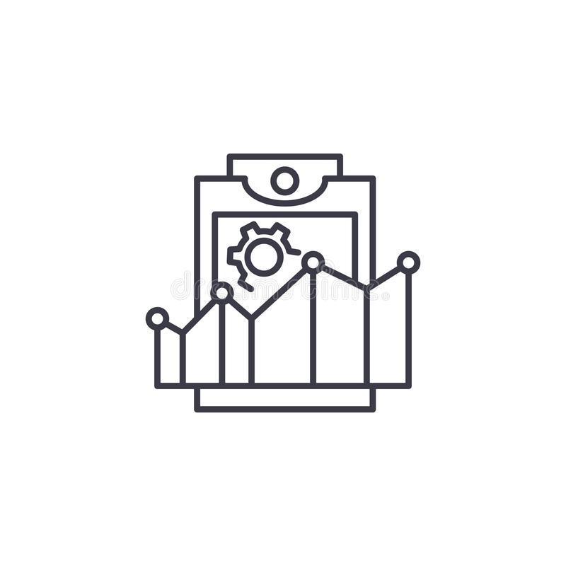 Productivity rates linear icon concept. Productivity rates line vector sign, symbol, illustration. stock illustration