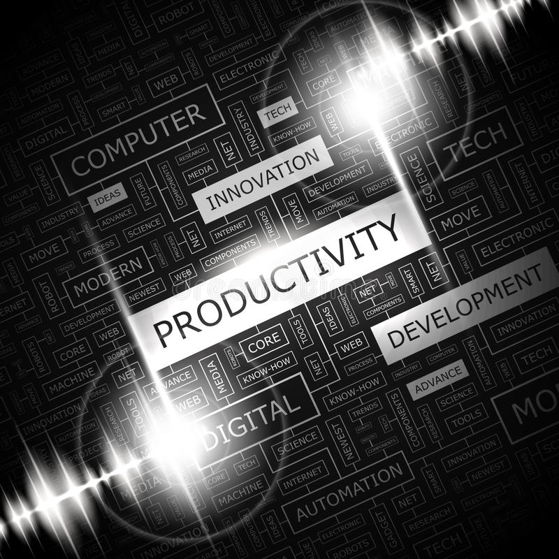 PRODUCTIVITY. Word cloud concept illustration. Wordcloud collage vector illustration
