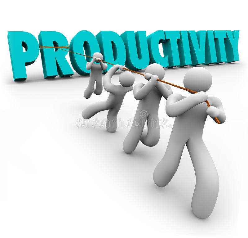 Productivity Word Pulled Lifted Workers Improve Increase Output. Productivity Word pulled up by workers lifting and cooperating together to achieve better or stock illustration