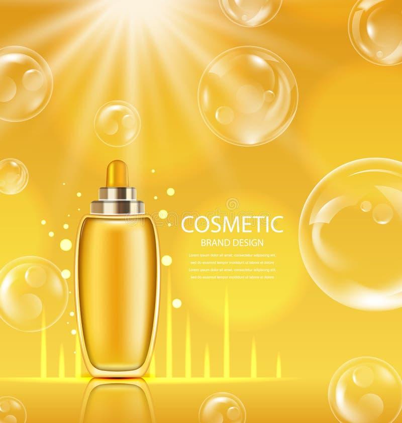 Producto cosmético en botella brillante anaranjada libre illustration
