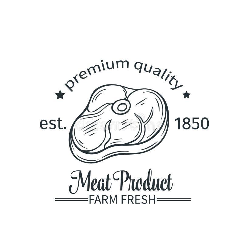 Producto de carne de la insignia del vector ilustración del vector