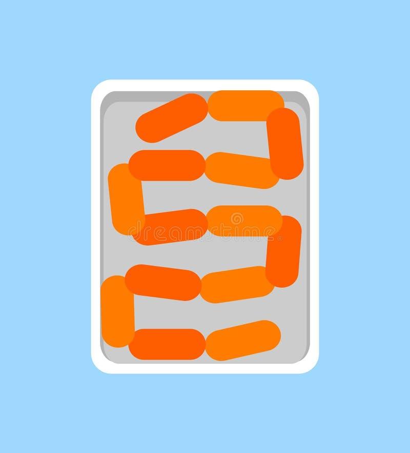 Producto de carne fresca de las salchichas del Banger en bandeja plástica ilustración del vector