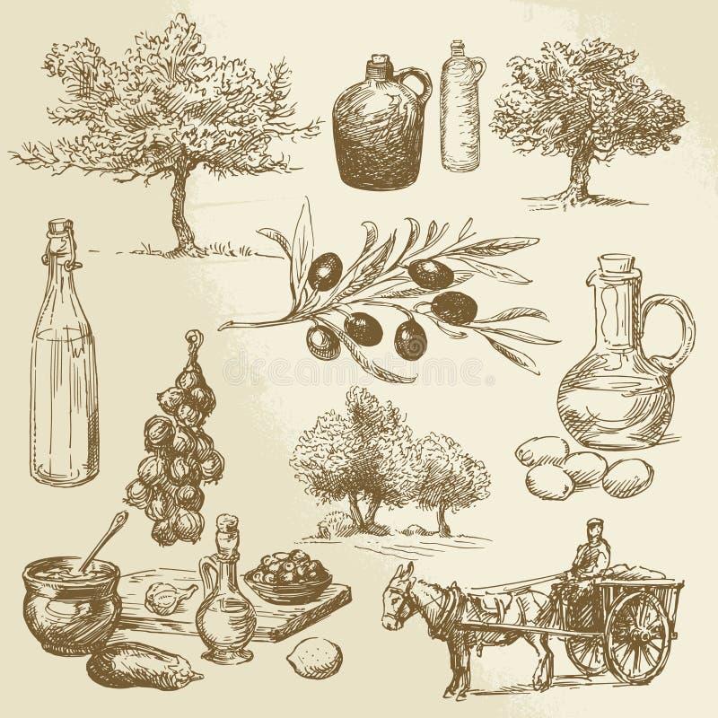Producto de la cosecha y de la aceituna stock de ilustración