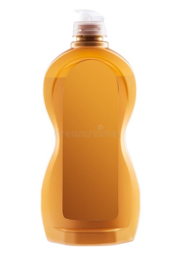 Producto de limpieza de la casa Botella plástica con el lavaplatos s líquido imagen de archivo libre de regalías
