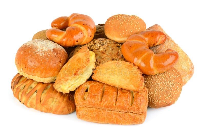 Producto del pan y de la panadería aislado en el fondo blanco fotografía de archivo