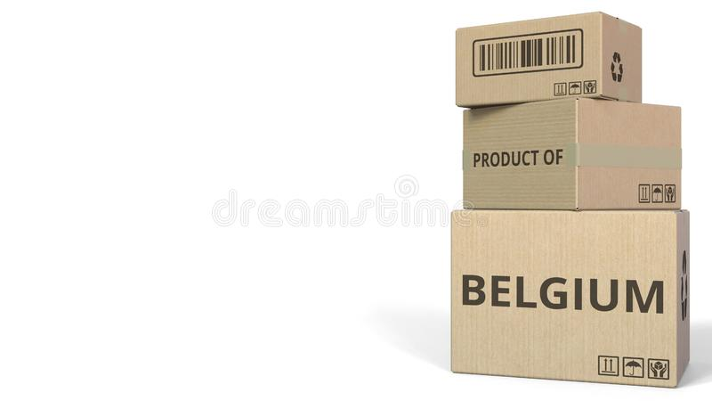 PRODUCTO del subtítulo de BÉLGICA en las cajas representación 3d stock de ilustración