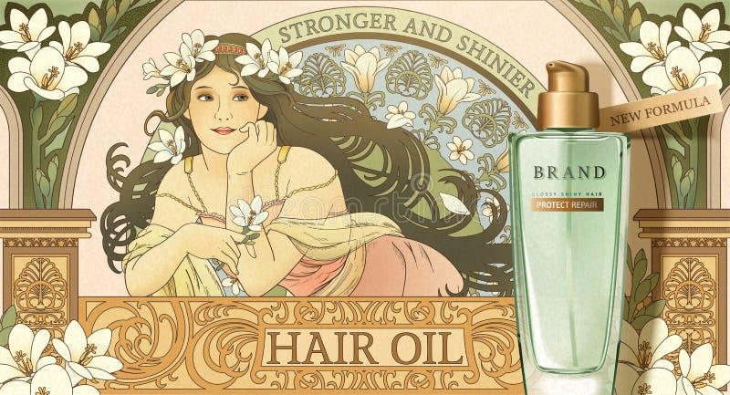 Producto derivado del petróleo de pelo del estilo de Mucha stock de ilustración