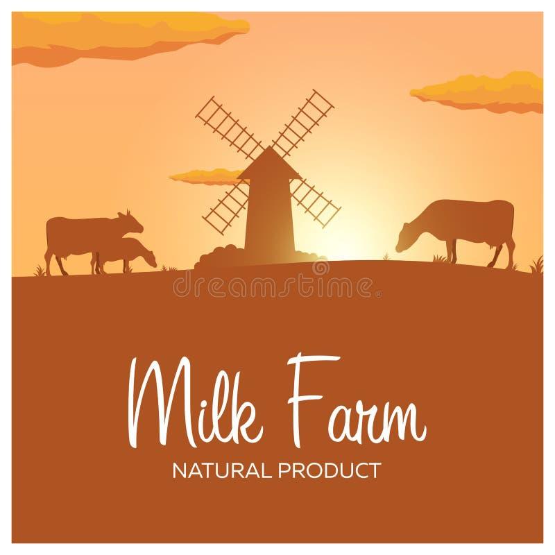 Producto natural de la granja de la leche Paisaje rural con el molino y las vacas Amanecer en el pueblo stock de ilustración