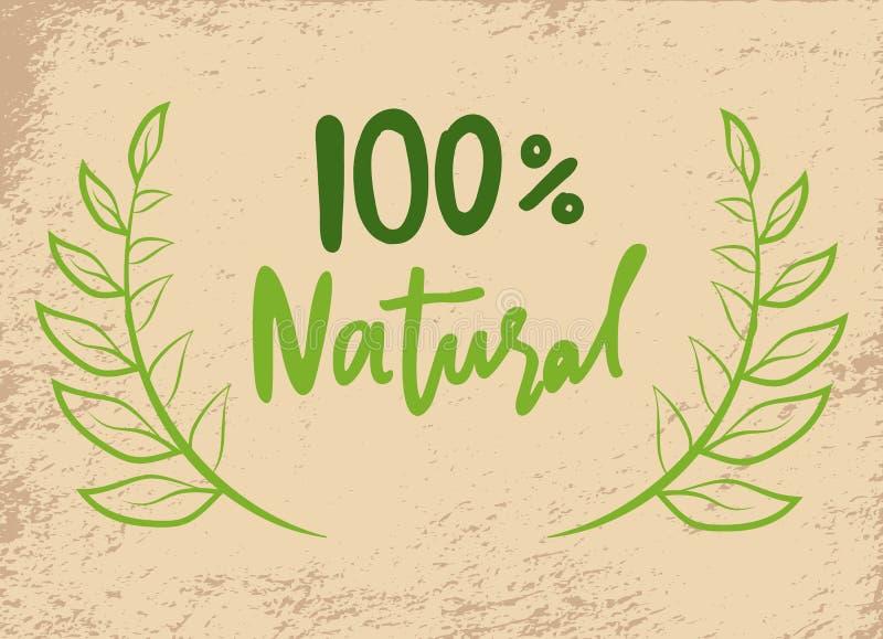 Producto natural, garantía del 100 por ciento, poniendo letras libre illustration