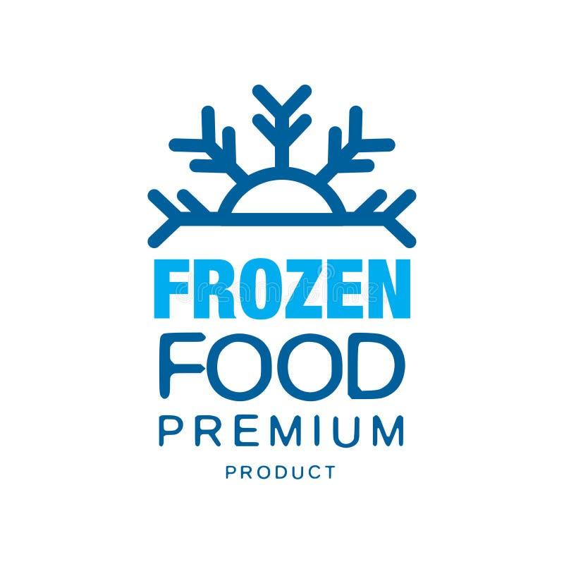 Producto superior de la comida congelada, etiqueta para congelar con el ejemplo del vector del copo de nieve ilustración del vector