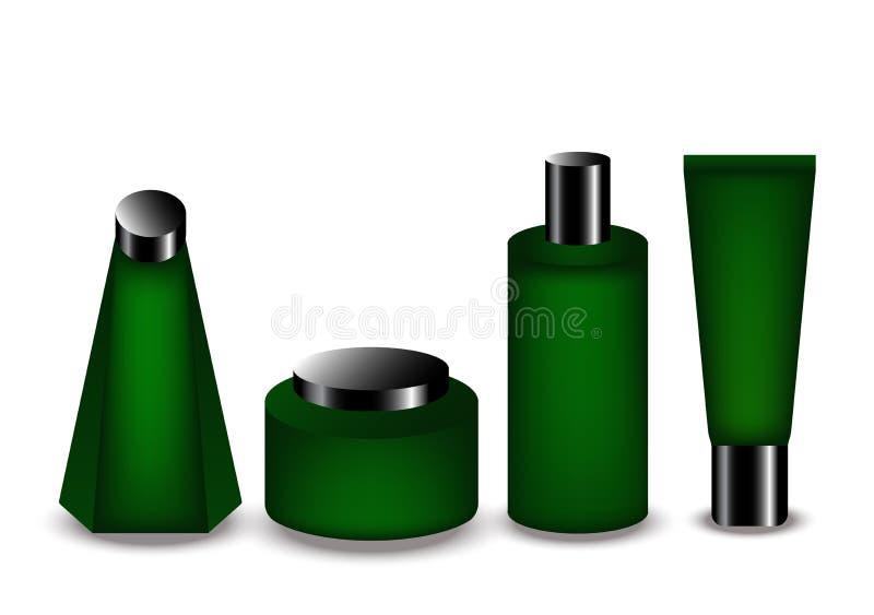 Producto verde de la botella para el cosmético y el balneario ilustración del vector