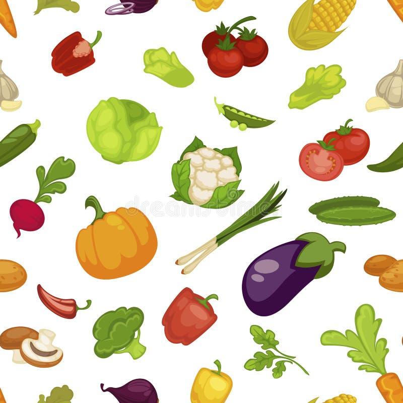 Productos agrícolas inconsútiles del modelo del alimento biológico de las verduras stock de ilustración