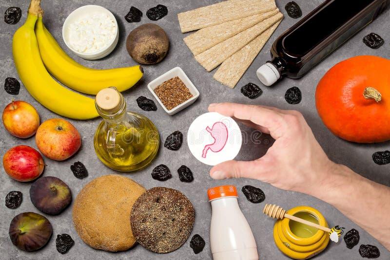 Productos alimenticios útiles para el estómago foto de archivo