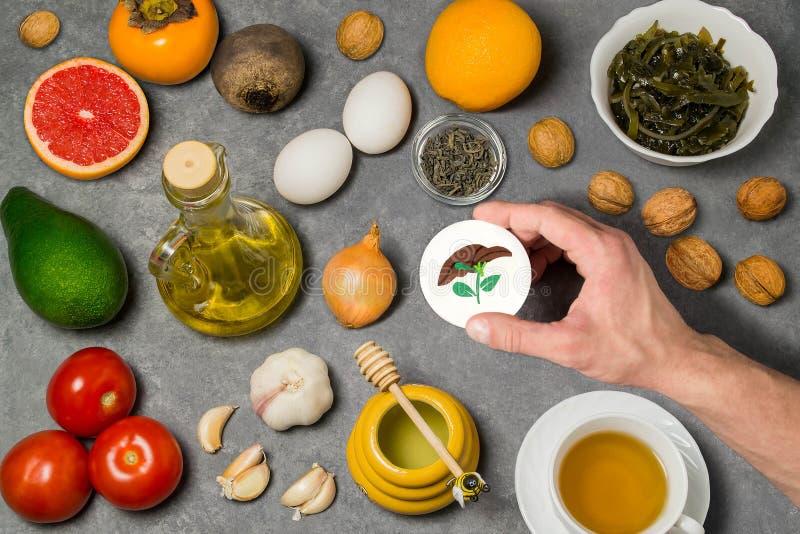 Productos alimenticios útiles para el hígado foto de archivo libre de regalías
