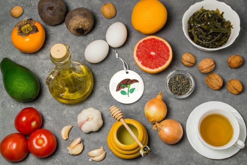 Productos alimenticios útiles para el hígado imagen de archivo libre de regalías