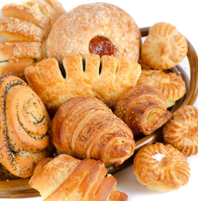 Productos alimenticios de la panadería fijados imagen de archivo