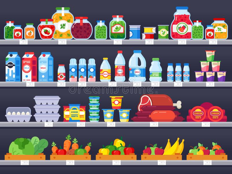 Productos alimenticios en estante de la tienda Los estantes de las compras del supermercado, el escaparate de la tienda de alimen ilustración del vector