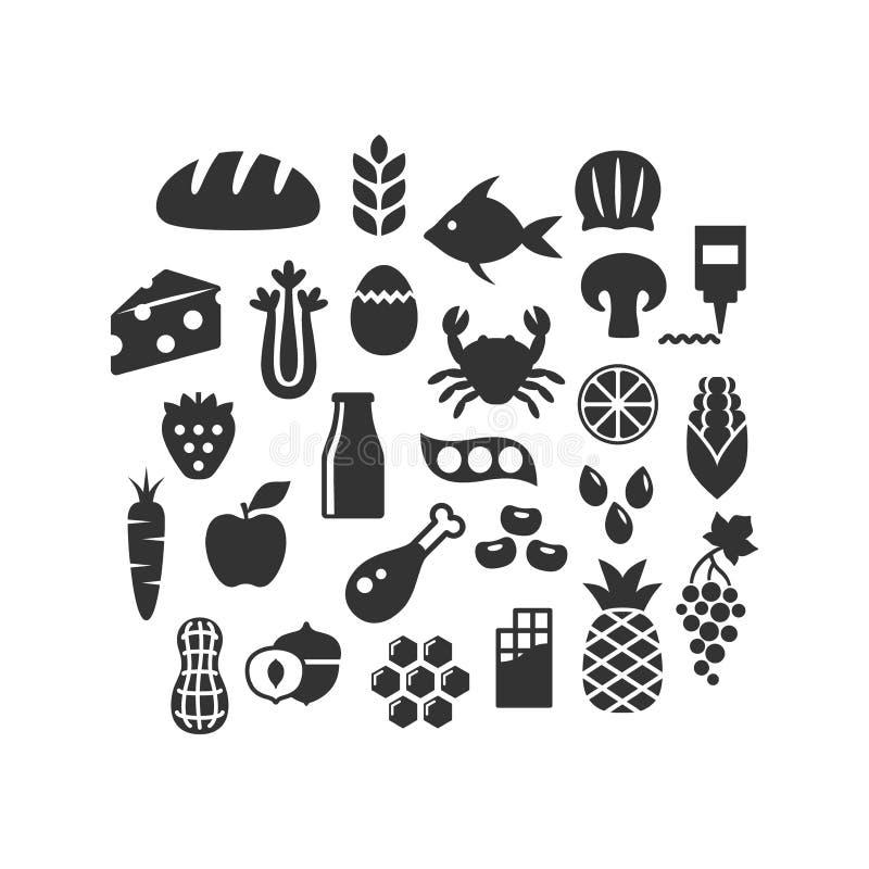 Productos alimenticios, frutas, verduras y sistema aislado negro del icono del vector de la lechería ilustración del vector