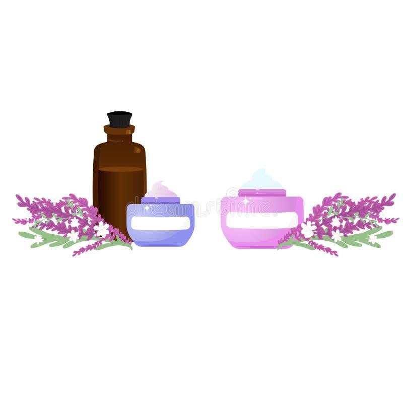 Productos botánicos de la lavanda con aceite esencial libre illustration