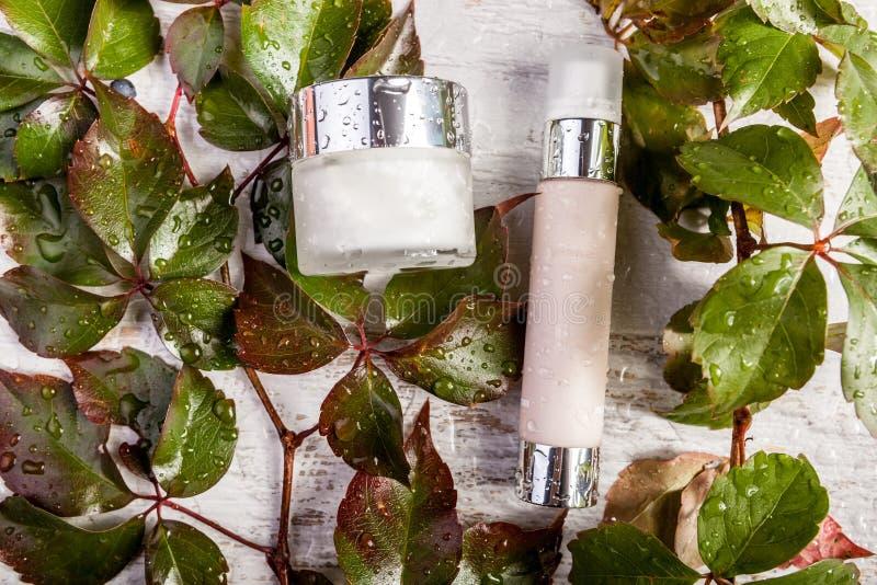 Productos cosméticos de la botella del balneario en las hojas de madera blancas del fondo y del verde cubiertas en descensos del  fotos de archivo