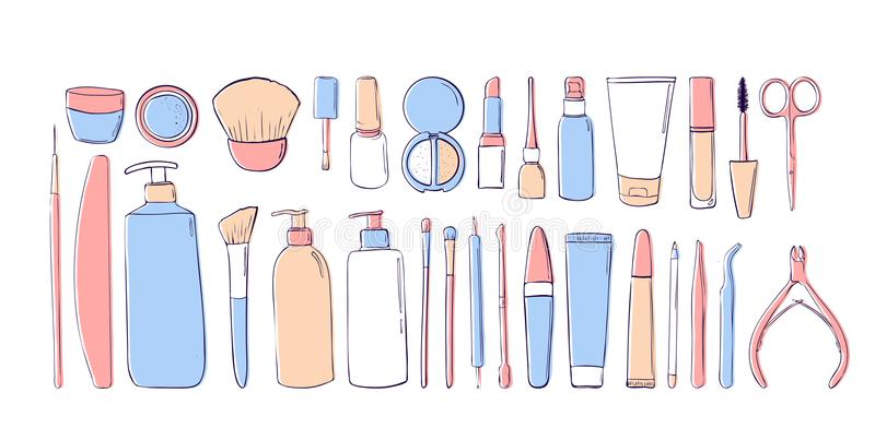 Productos de belleza en colores en colores pastel Gráfico de la mano equipo del maquillaje Salón de la belleza Elementos para el  libre illustration