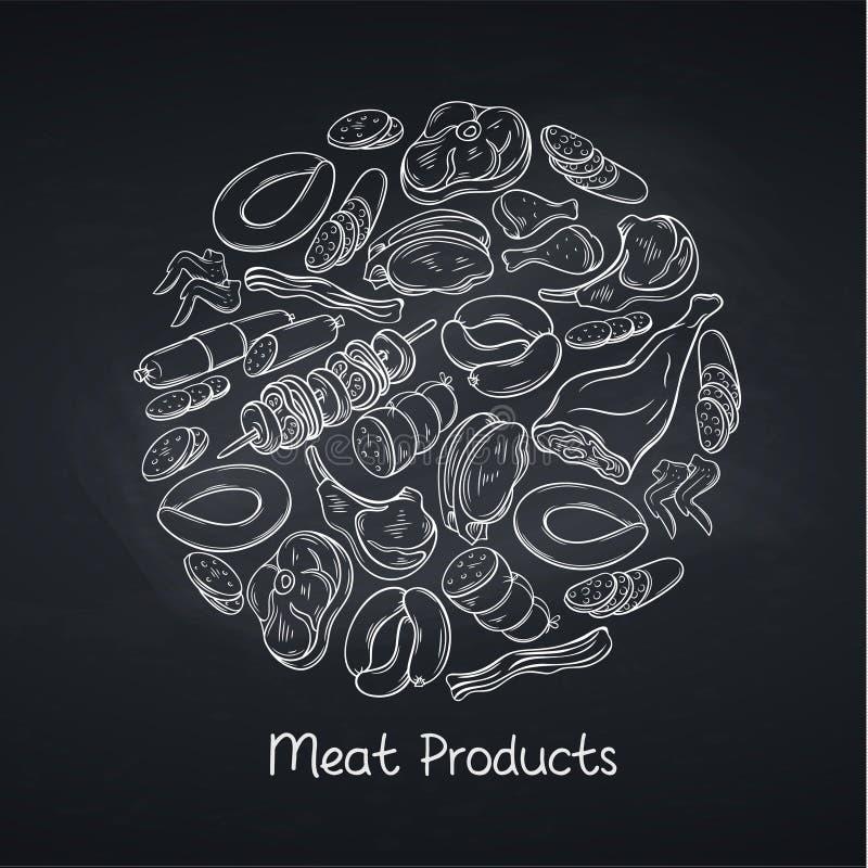 Productos de carne en la pizarra stock de ilustración