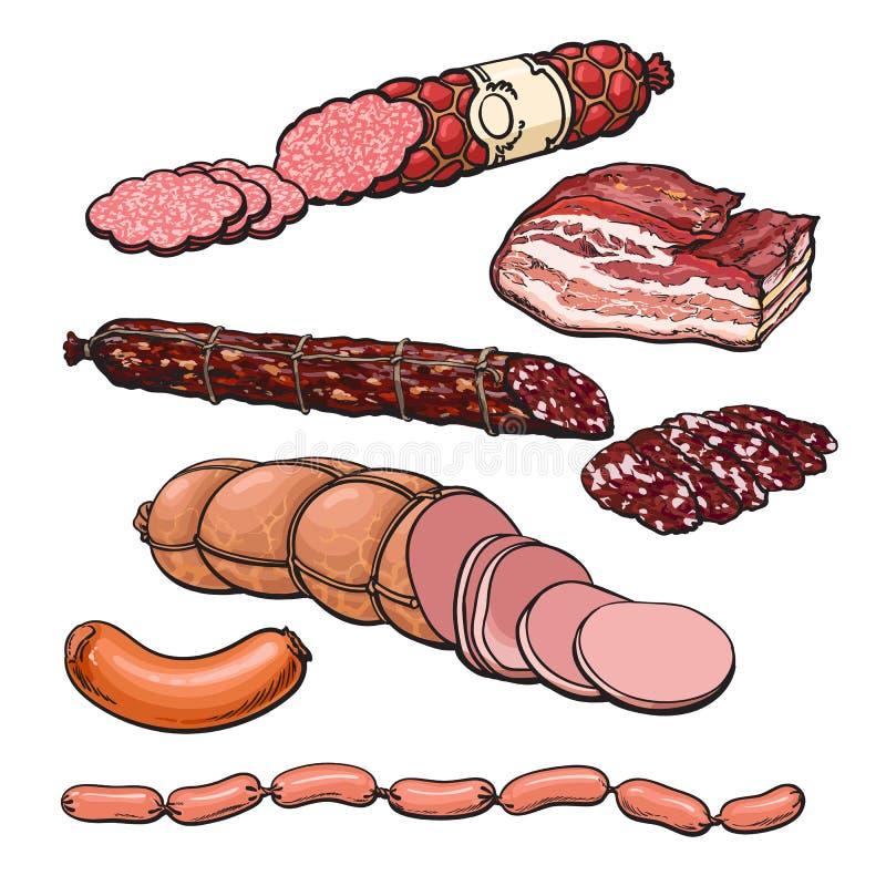 Productos de carne en un fondo blanco stock de ilustración
