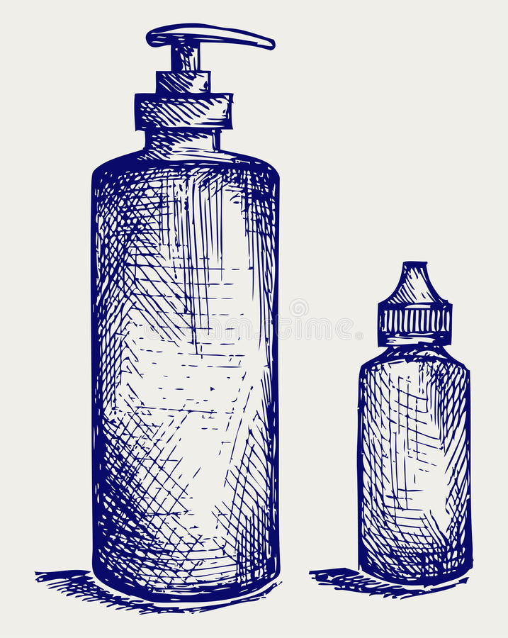 Productos de higiene en botellas plásticas stock de ilustración