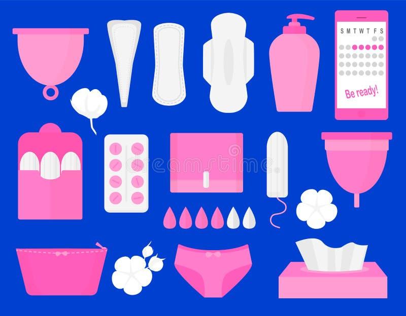 Productos de higiene de la mujer - tapón, taza menstrual, sanitaria, píldoras Sistema grande plano del ejemplo del vector ilustración del vector