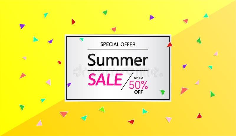 Productos de la bandera del vector y venta del verano de las ofertas especiales ilustración del vector