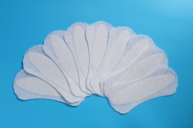 Productos de la higiene de las mujeres, cojines sanitarios diarios, espacio para el texto, limpieza y frescura, la salud de las m fotos de archivo