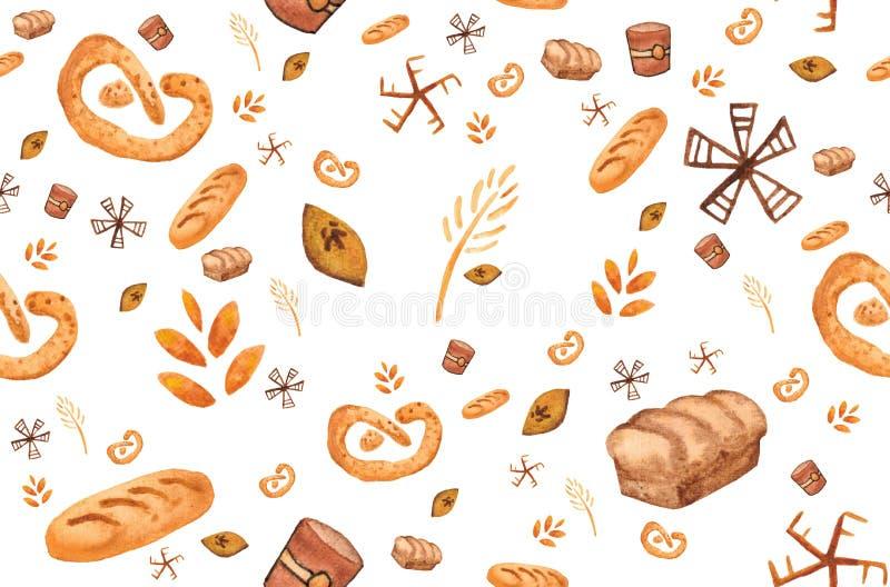 Productos de la panadería, impresión que cuece Modelo incons?til de los pasteles Fondo lindo de la cocina ilustración del vector