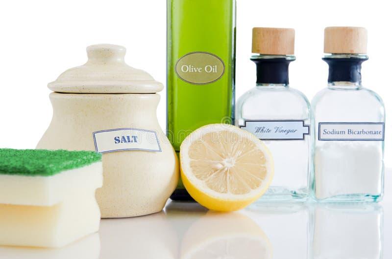 Productos de limpieza no tóxicos naturales foto de archivo libre de regalías