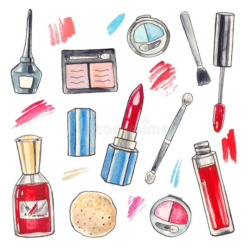 Productos de maquillaje de la acuarela fijados stock de ilustración