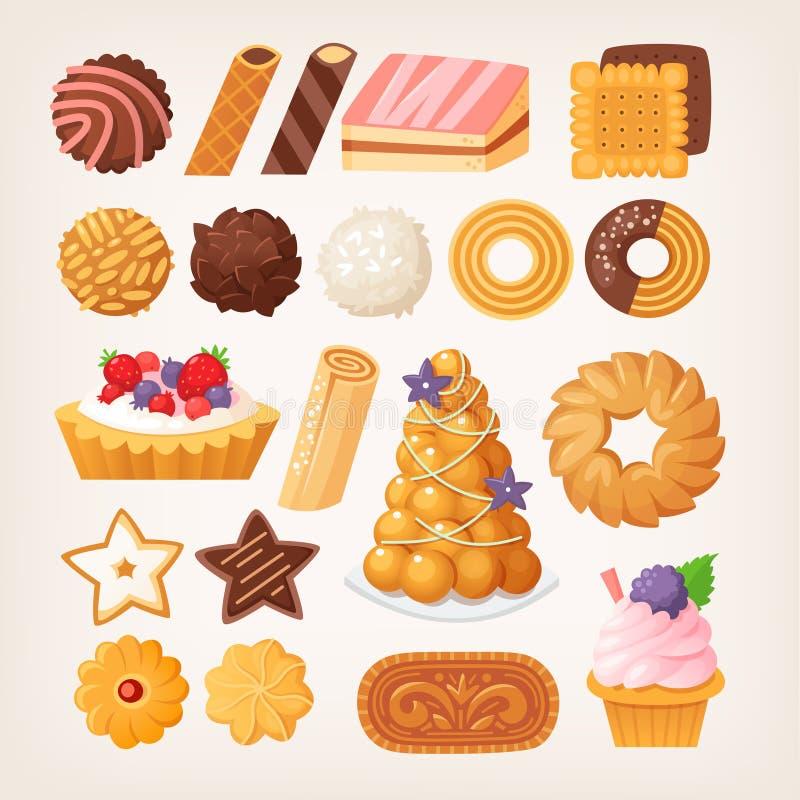 Productos de pasteles deliciosos en diversos formas y sabores libre illustration