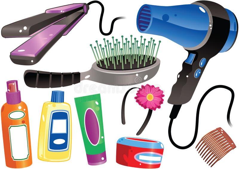 Productos de pelo ilustración del vector