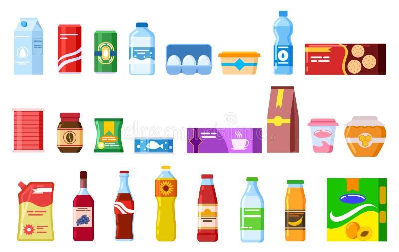 Productos del bocado Sopa del café del yogur de la salsa de tomate de la cola de las galletas del jugo del agua de la galleta Emb libre illustration