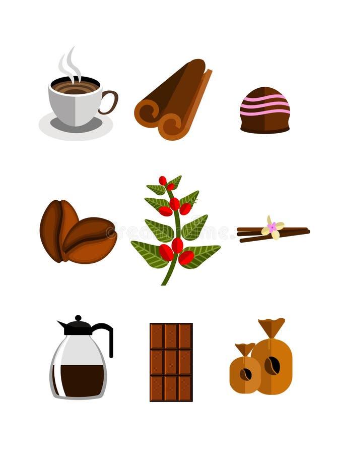 Productos del café conjunto Vector ilustración del vector