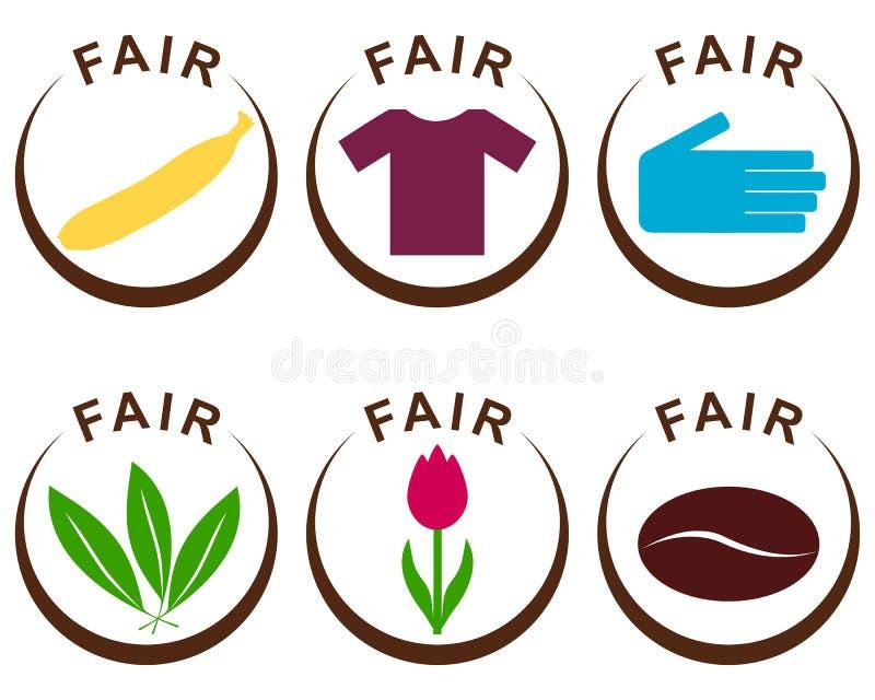Productos del comercio justo ilustración del vector