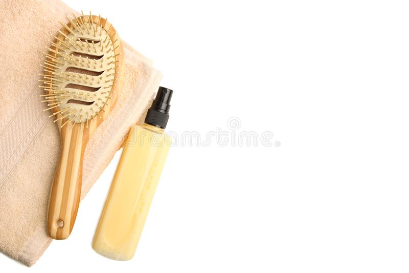 Productos del cuidado del cabello fotografía de archivo libre de regalías