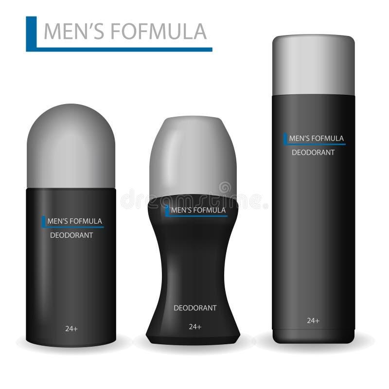 Productos del cuidado del cuerpo para los hombres El sistema realista de la botella negra de los cosméticos puede rociar, desodor ilustración del vector