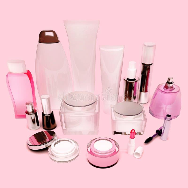 Productos del cuidado de la piel, pelo, cosméticos decorativos en el CCB rosado fotos de archivo libres de regalías