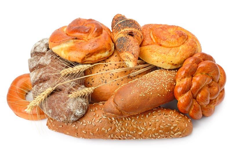 Productos del pan y de la panadería en blanco fotografía de archivo libre de regalías