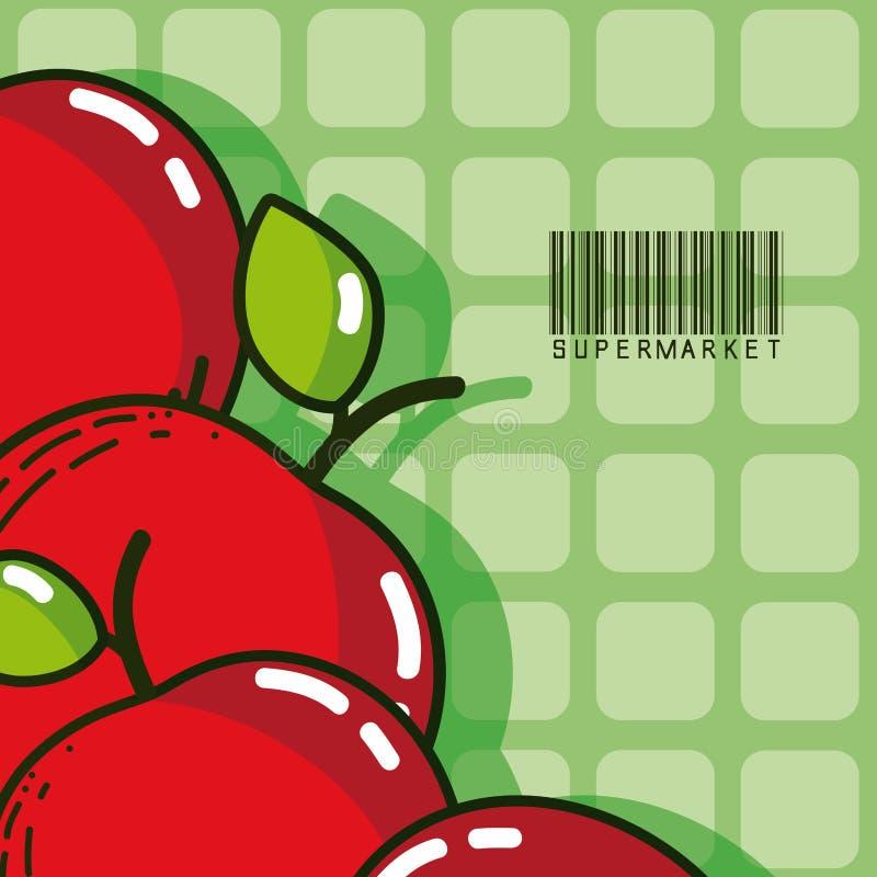 Productos dulces del mercado estupendo de las manzanas stock de ilustración