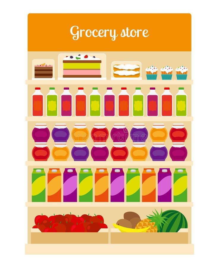 Productos en estantes de una tienda de los ultramarinos libre illustration