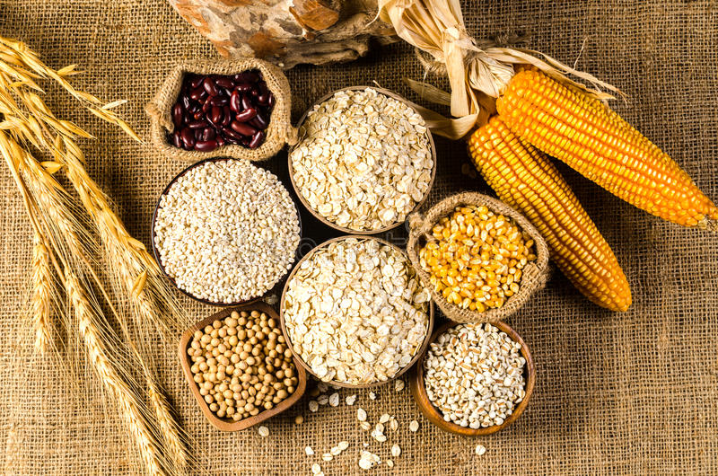 productos, granos y cereal de la agricultura fotos de archivo