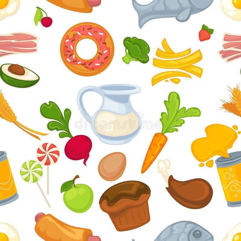 Productos lácteos de los alimentos de preparación rápida y de las verduras y productos de pasteles stock de ilustración
